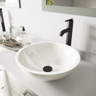 VIGO Flat Edged White Phoenix Stone Glass Vessel Sink and Seville Faucet Set in Matte Black Finish