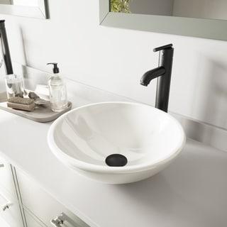 VIGO White Phoenix Stone Glass Vessel Sink and Seville Faucet Set in Matte Black Finish