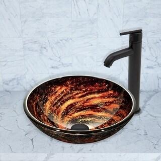 VIGO Northern Lights Glass Vessel Sink and Seville Faucet Set in Matte Black Finish