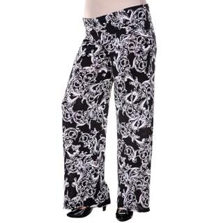 White Mark Women's Plus Size Black Fleur de Lis Palazzo Pants