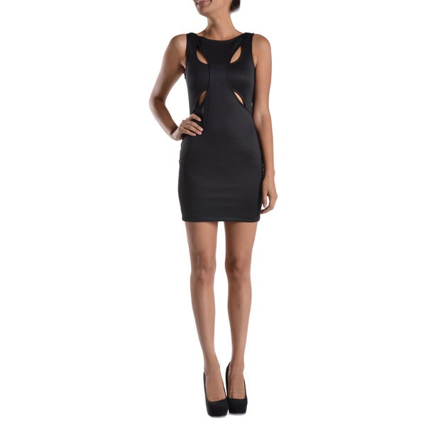 Mystic Sleeveless Front Interweave Back Cut-Out Bodycon Dress