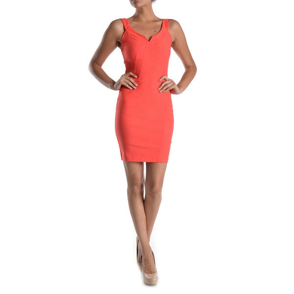 Mystic Women's Coral U-notch Neckline Bodycon Dress