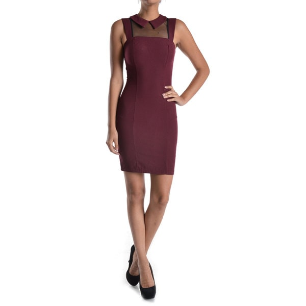 Mystic Women's Collared Mesh Yoke Bodycon Dress