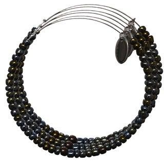 Pink Box 3-piece Adjustable Bead Bangle Bracelet in Khaki