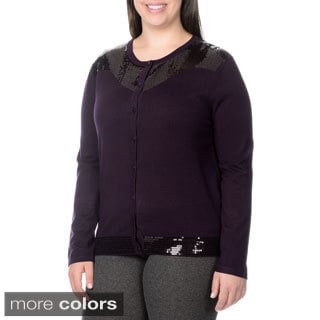 Nancy Yang Fashion Women's Plus Size Sequin Accent Cardigan