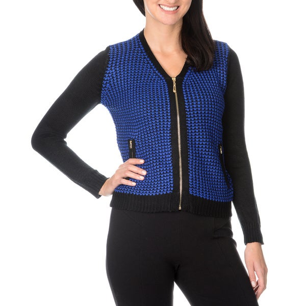 Nancy Yang Fashion Women's V-neck Zip Knit Cardigan