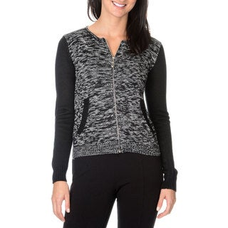 Nancy Yang Fashion Women's Marled Jersey Zip Up Knit Sweater
