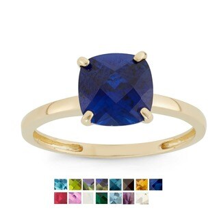 Gioelli 10k Yellow Gold Cushion-cut Birthstone Ring