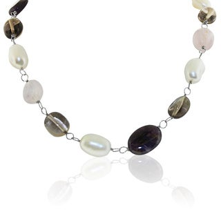 Gioelli Sterling Silver Freshwater Pearl and Multi-gemstone Necklace (10-11mm)