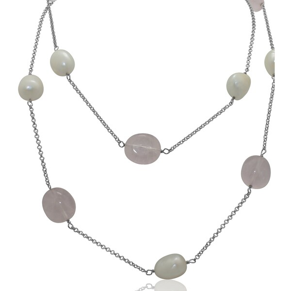 Gioelli Sterling Silver Rose Quartz and Freshwater Pearl Necklace (10-11 mm)