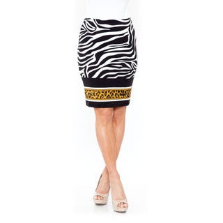 White Mark Women's 'Pretty and Proper' Zebra Pencil Skirt