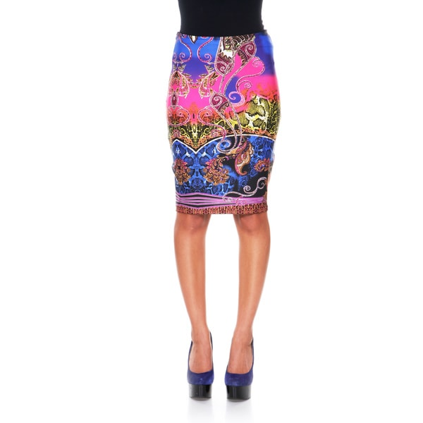 White Mark Women's 'Pretty & Proper' Rainbow Python Pencil Skirt