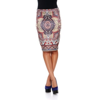 White Mark Women's 'Pretty & Proper' Scarf Pattern Pencil Skirt