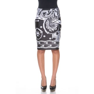 White Mark Women's 'Pretty & Proper' Bandana Print Pencil Skirt