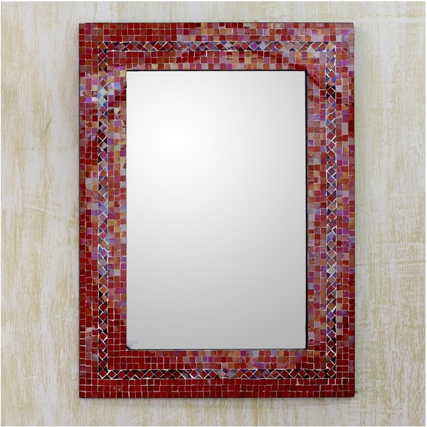 Handcrafted Mosaic Glass 'India Sunset' Mirror (India)