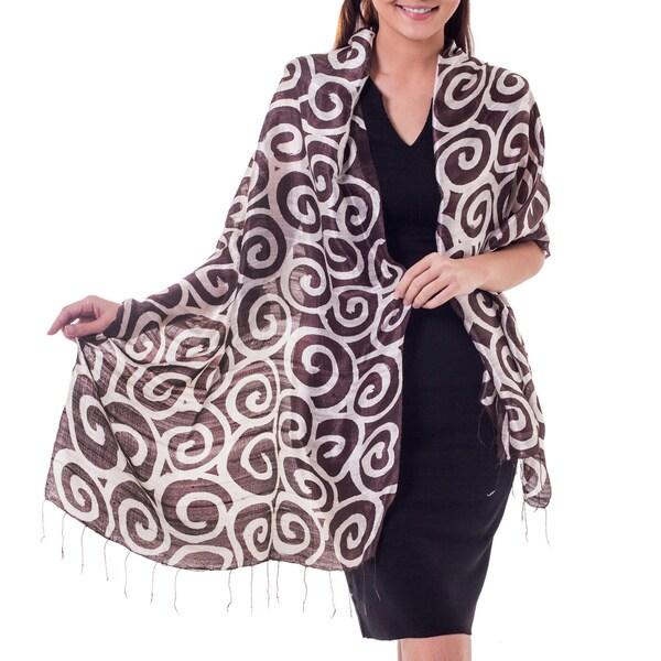Handcrafted Silk 'Brown Thai Maze' Scarf (Thailand)