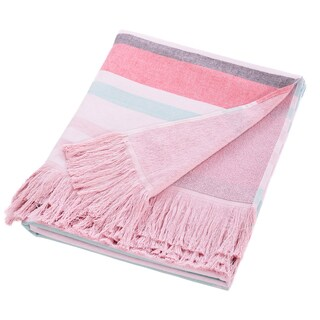 Authentic Turkish Cotton Terry Pestemal Pink Striped Bath and Beach Towel