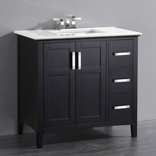 Salem Black 36-inch Bath Vanity with 2-doors and White Quartz Marble Top