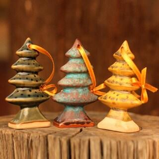 Set of 3 Celadon Ceramic 'Winter Pines' Christmas Ornaments (Thailand)