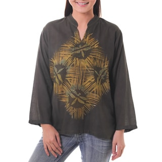 Handcrafted Cotton 'Thai Forest Wind' Batik Tunic (Thailand)