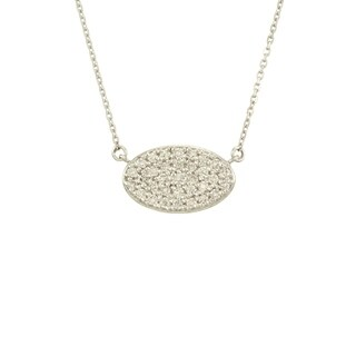 14k Gold 1/2ct TDW Pave Diamond 16-inch Oval Necklace (G-H, SI1-SI2)