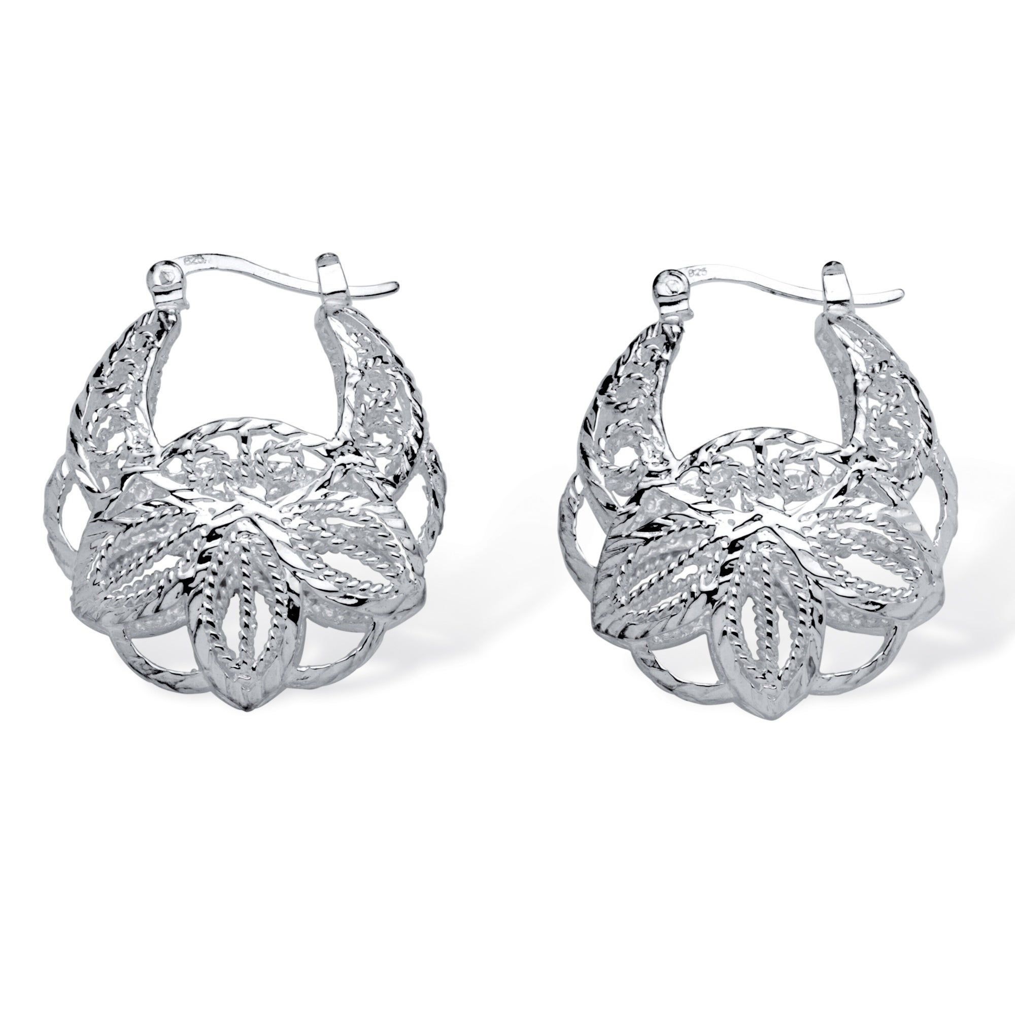 PalmBeach Jewelry PalmBeach .925 Sterling Silver Filigree Leaf Hoop Earrings Tailored