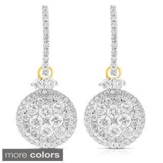 Luxurman 14k Two-tone Gold 2 3/4ct TDW Diamond Dangle Earrings (G-H, VS1-VS2)