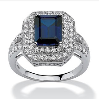 PalmBeach Jewelry Platinum Over Silver Lab Created Sapphire Cubic Zirconia Ring