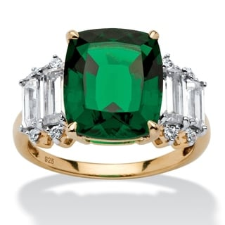 PalmBeach Jewelry Gold Over Silver Lab Created Emerald Cubic Zirconia Ring