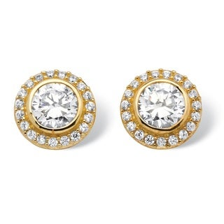 Palm Beach Classic Goldplated Sterling Silver 2 1/6ct TGW Cubic Zirconia Earrings