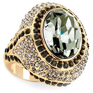 PalmBeach Jewelry Gold Overlay Geometric Cocktail Swarovski Crystal Ring Bold Fashion