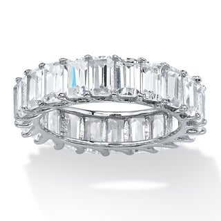 PalmBeach Platinum-plated Silver Emerald-cut Cubic Zirconia Glam CZ Ring