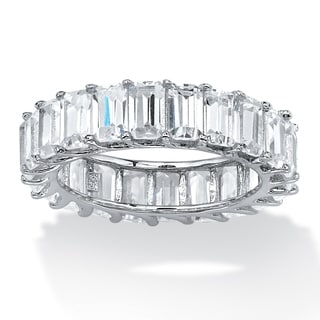 PalmBeach 6.44 TCW Emerald-Cut Cubic Zirconia Band in Platinum over Sterling Silver Glam CZ