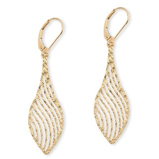 PalmBeach Laser-Cut Leaf Earrings in 10k Gold Tailored
