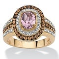 PalmBeach Oval-Cut Violet Crystal Cocktail Ring MADE WITH SWAROVSKI ELEMENTS 18k Gold over Sterling Silver Color Fun