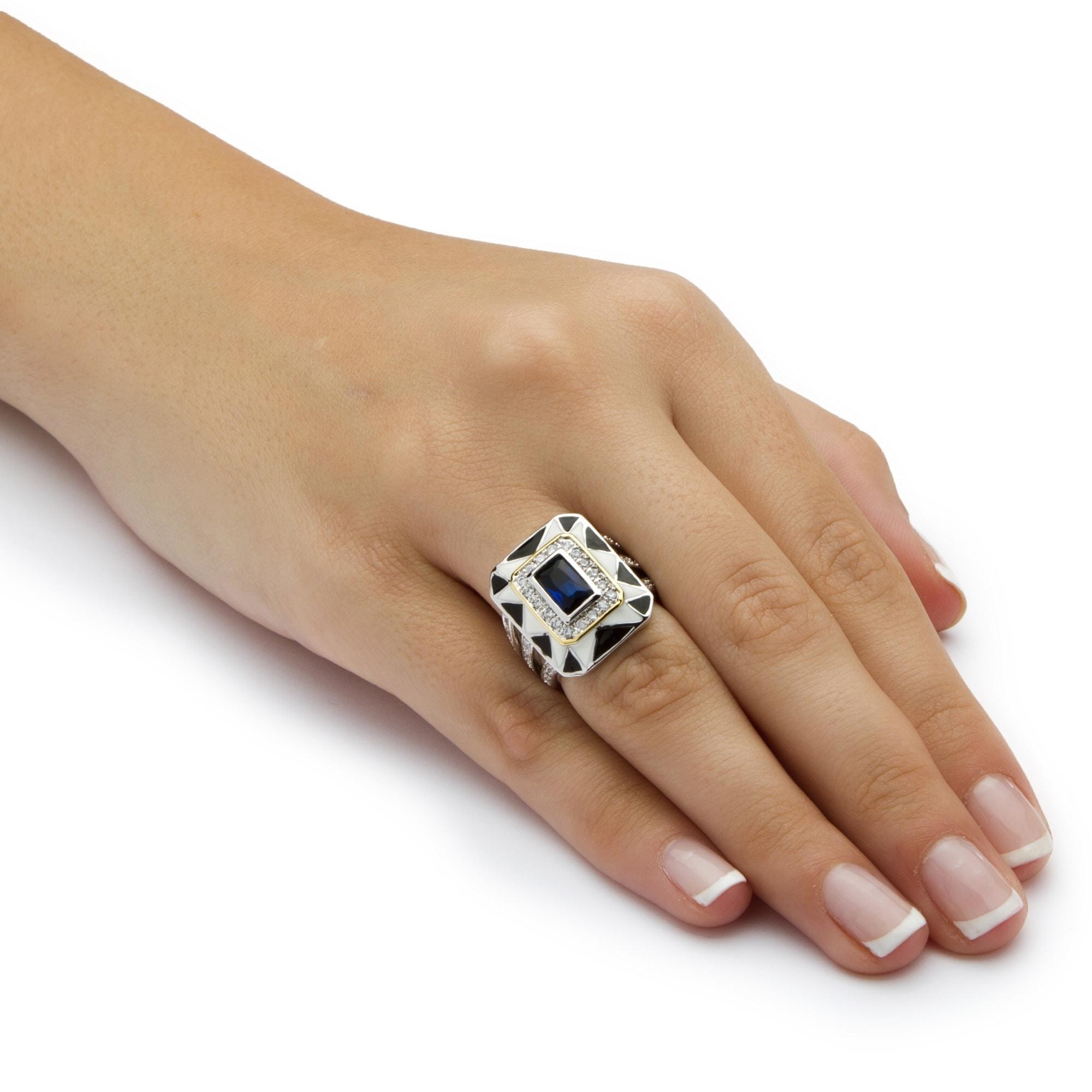 PalmBeach Jewelry PalmBeach 2.38 TCW Emerald-Cut Blue Crystal Art Deco Style Ring in Silvertone Color Fun