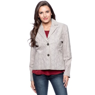 Fourteen-Zero Women's Reptile Print Suede Leather Blazer