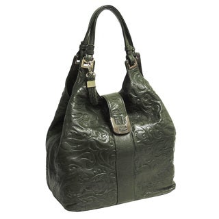 Buxton Fiona Swirl-embossed Leather Hobo Bag with Coordinating Scarf
