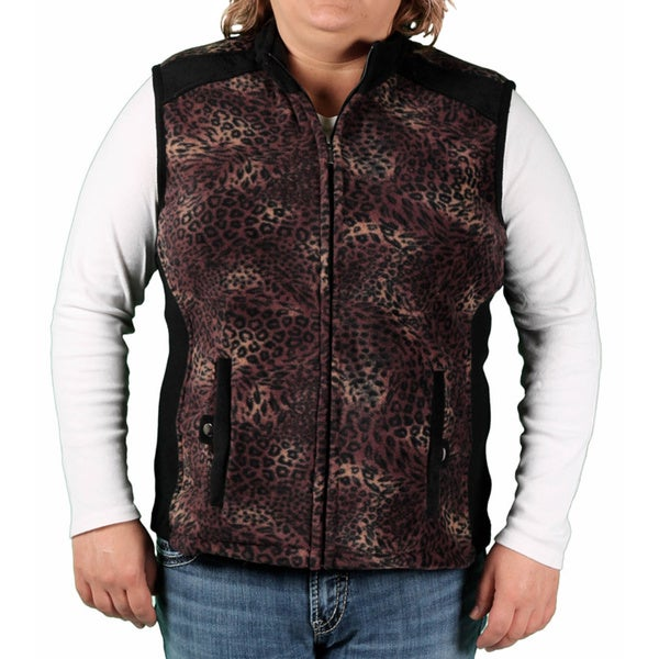 Jane Ashley Women's Plus Printed Fleece Vest