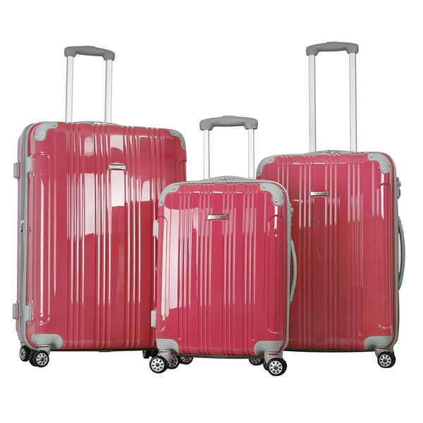 Topline Pink Hard Candy 3-piece Expandable Hardsided Luggage Set