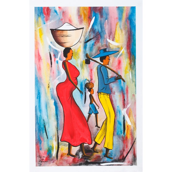 'Calling A Day From The Garden Painting' Canvas Art Print (Malawi)