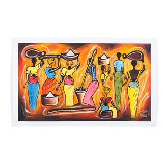 'Colorful Village Women' Canvas Art Print (Malawi)