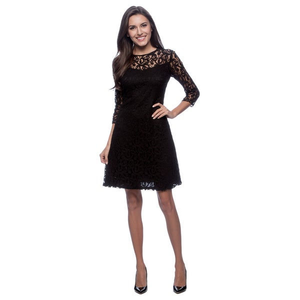 Marc NY Women's Black Lace Overlay 3/4-sleeve Dress