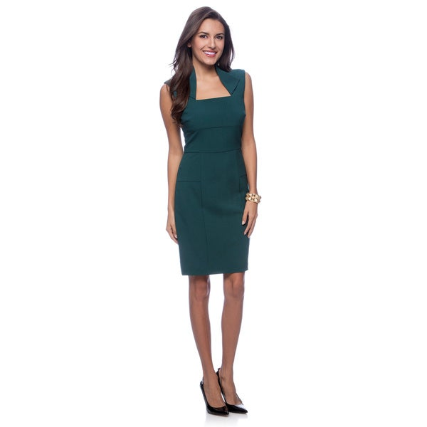 Marc NY Women's Forest Green Envelope Collar Sleeveless Dress