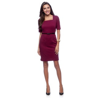 Marc NY Women's Berry Purple Square Neck Belted Dress