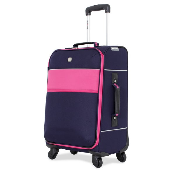 SwissGear Navy/Pink 20-inch Upright Spinner Suitcase
