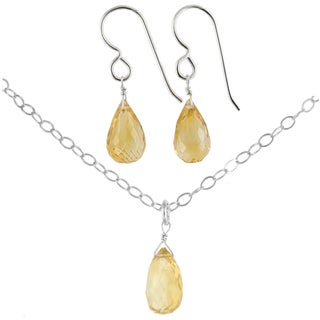 Ashanti Sterling Silver Citrine Gemstone Handmade Earrings and Necklace Set (Sri Lanka)