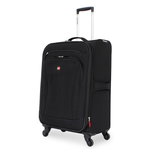 SwissGear Black 24-inch Upright Spinner Suitcase