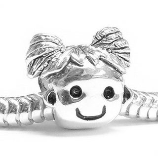 Queenberry Sterling Silver Happy Little Girl European Bead Charm