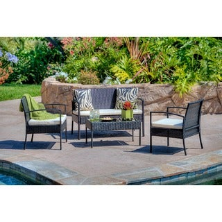 Teaset Four-Piece Patio Conversation Set with White Cushion